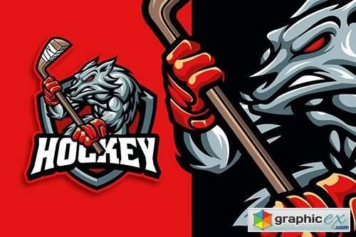Wolf Hockey Mascot Character Sport Logo