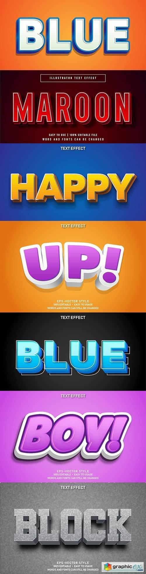 Editable font effect text collection illustration design 88