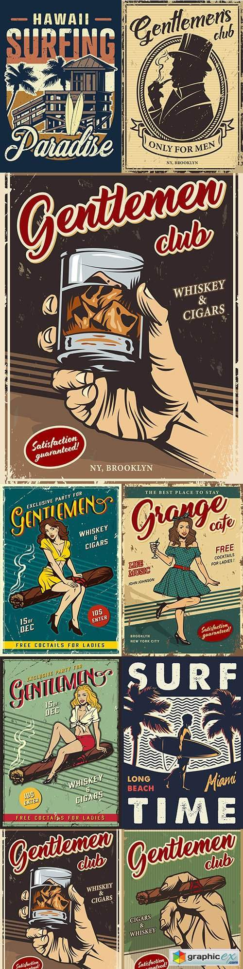 Vintage gentleman club advertising template