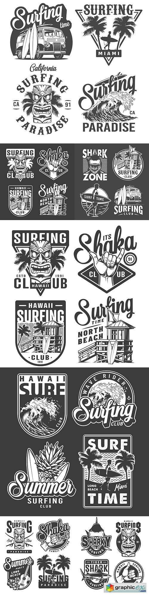 Monochrome vintage badges and surfing emblems