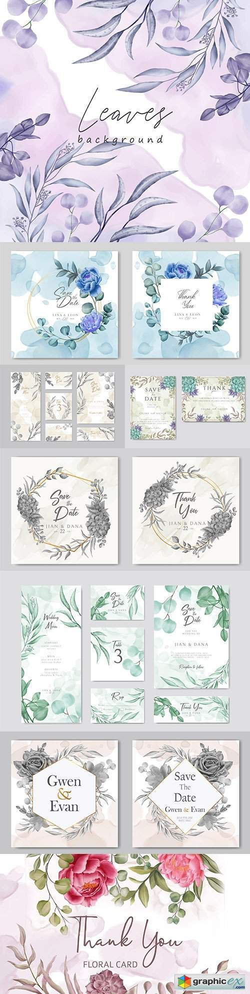 Elegant watercolour floral wedding invitations with golden frame