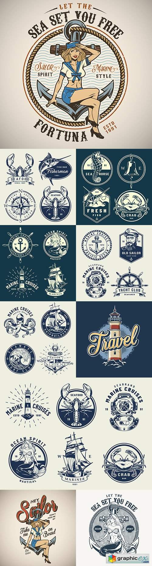 Vintage sea emblems and logos design collection