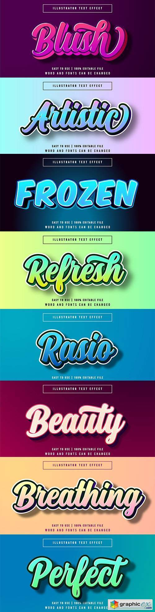 Editable font effect text collection illustration design 87