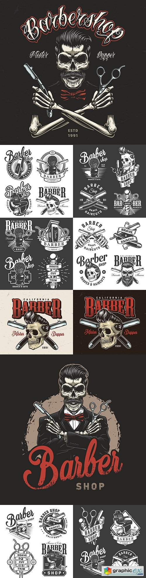 Vintage monochrome design labels for men 's barbershop