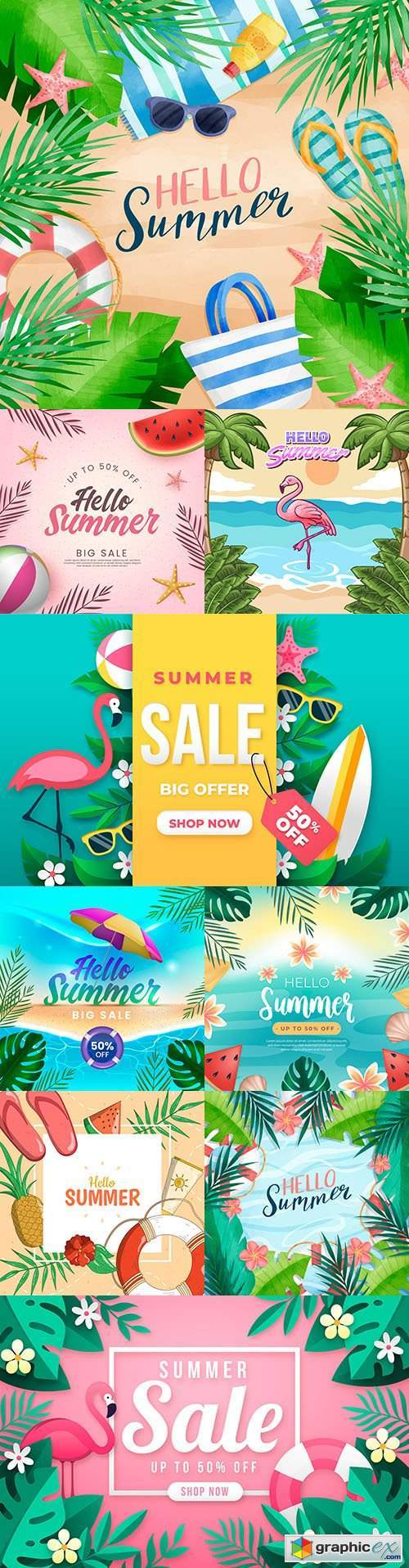 Hello summer seasonal sale design with tropical leaves