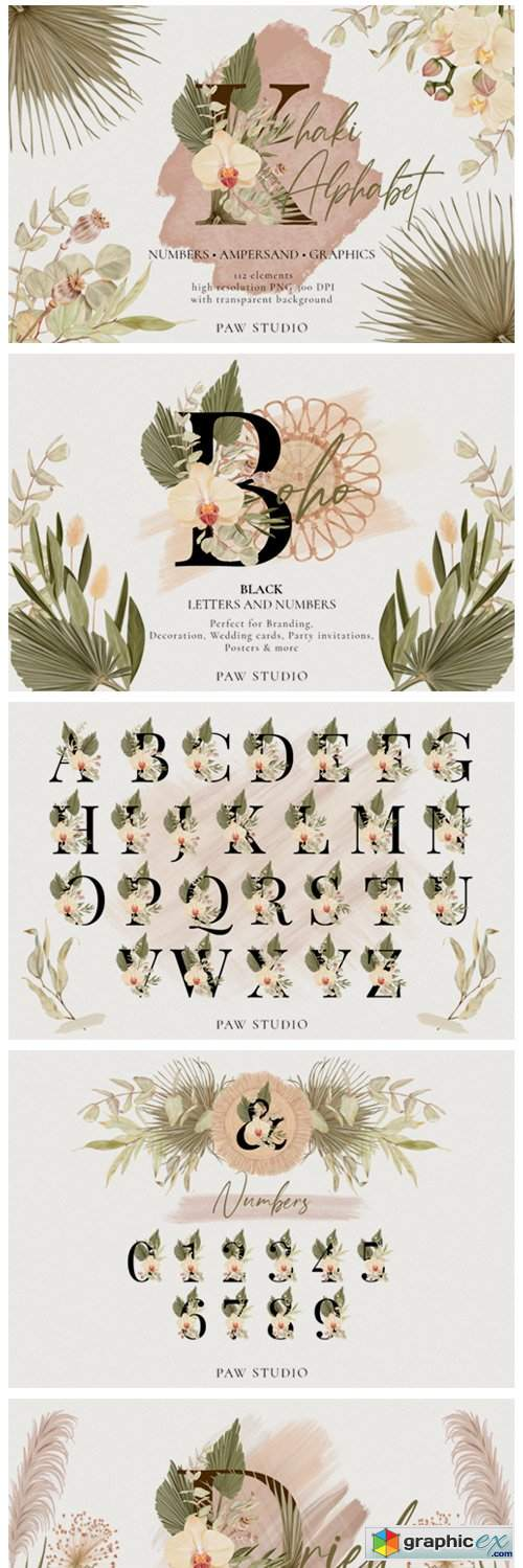 Boho Alphabet Numbers Letters Graphics