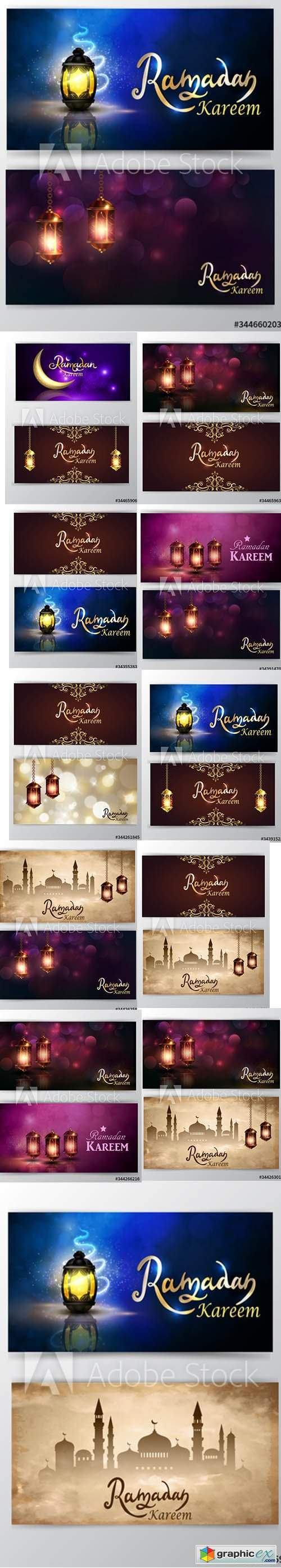 Ramadan Kareem greeting background set of cards