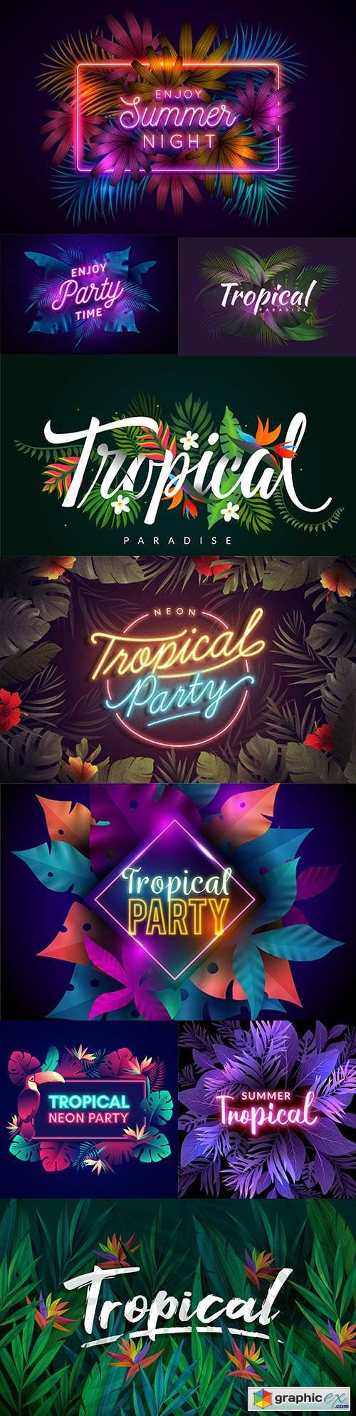 Tropical party neon inscription with leaves and flowers