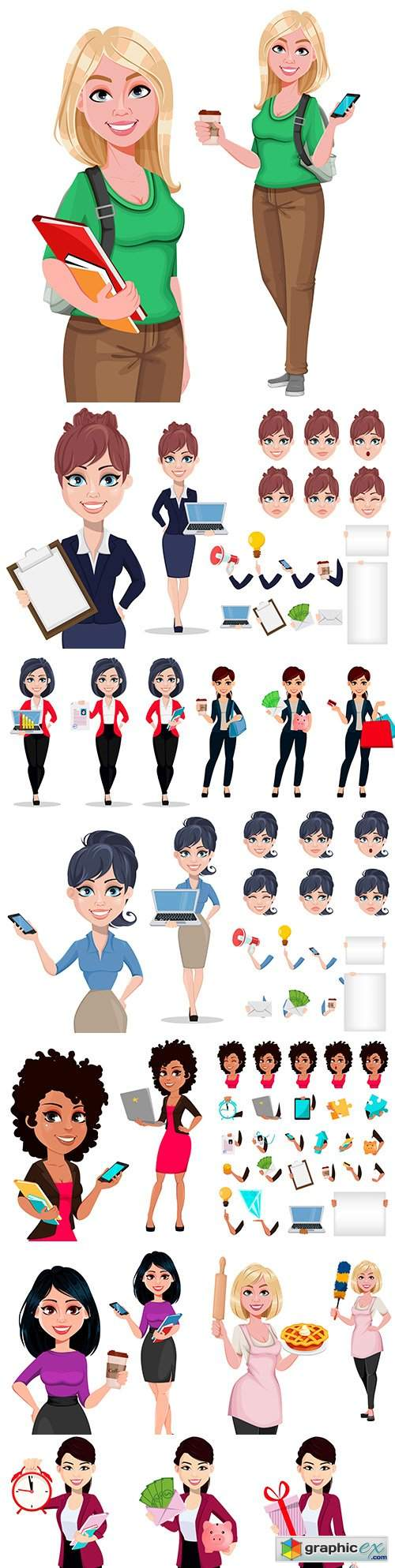 Young beautiful businesswoman character from cartoon and different items
