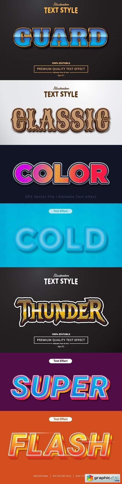 Editable font effect text collection illustration design 90
