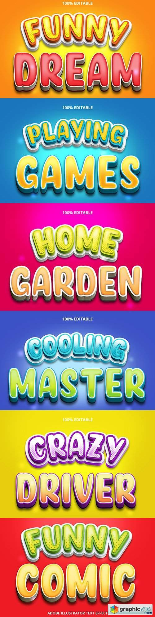 Editable font effect text collection illustration design 89