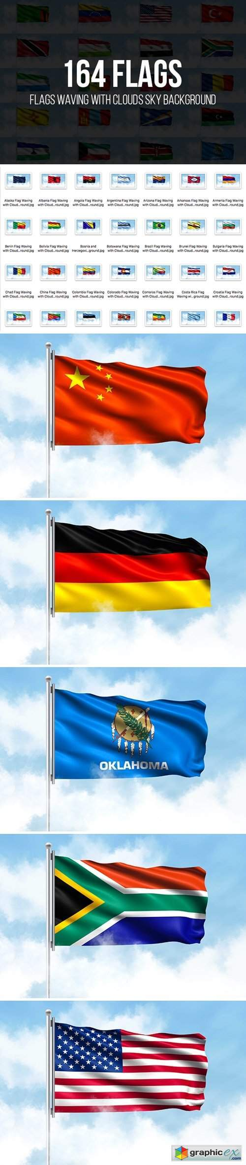 Flags Waving with Clouds Sky Background