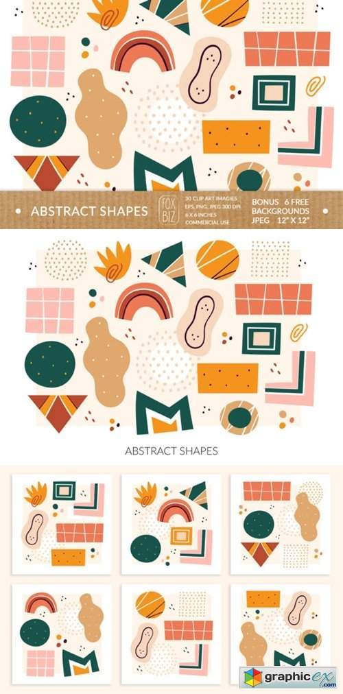 Abstract Shapes Clipart. Digital Prints.