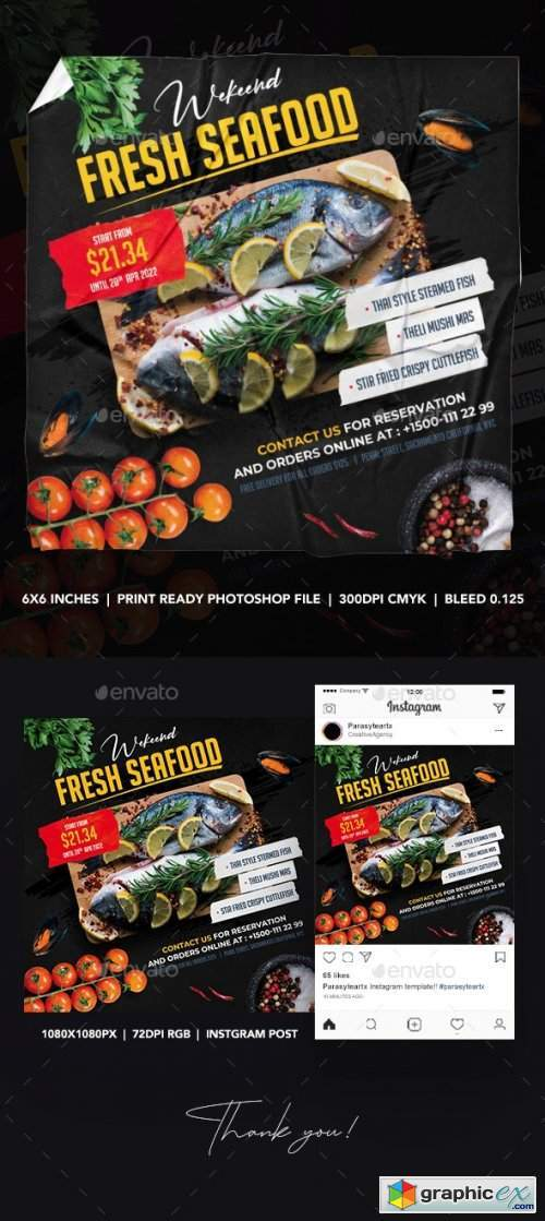 Seafood Square Flyer & Instagram Post 26340263