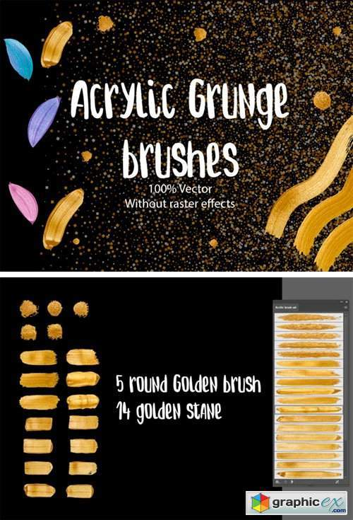 Golden Metallic Acryl Brush 100% Vector