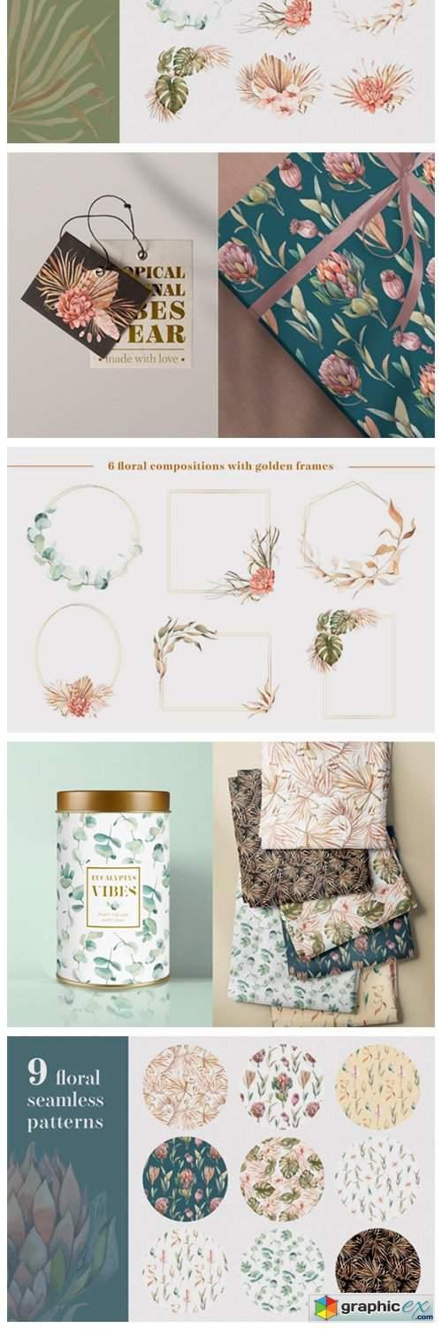 Bohemian Plants - Trendy Watercolors
