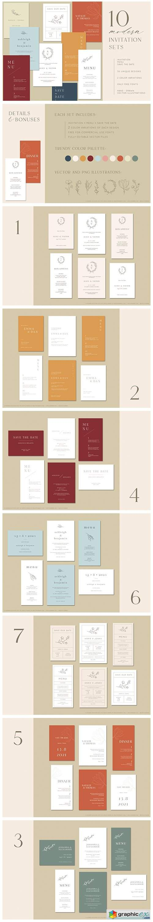 10 Modern Wedding Invitation Sets