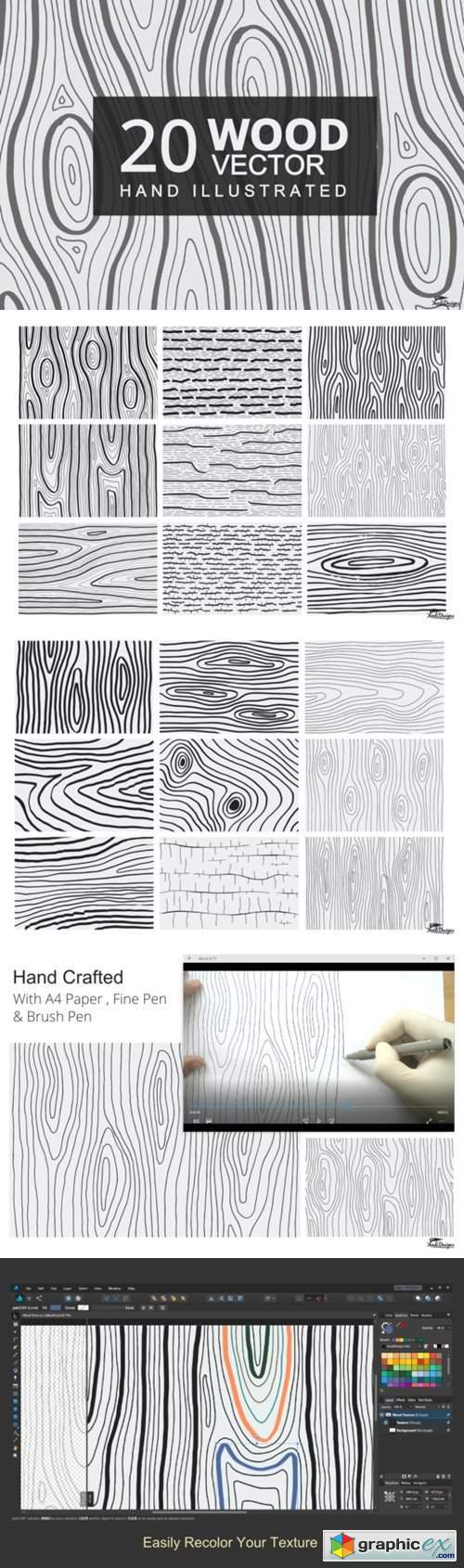 Hand Illustrated Wood Texture Vector