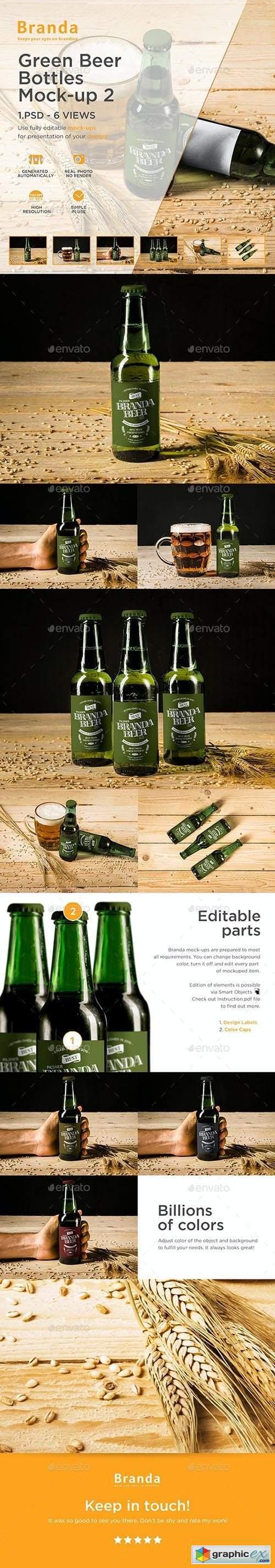 Green Beer Bottles Mock-up 2