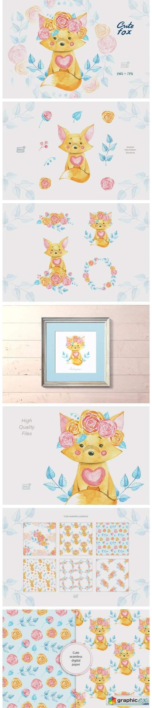 Watercolor Cute Fox Cliparts