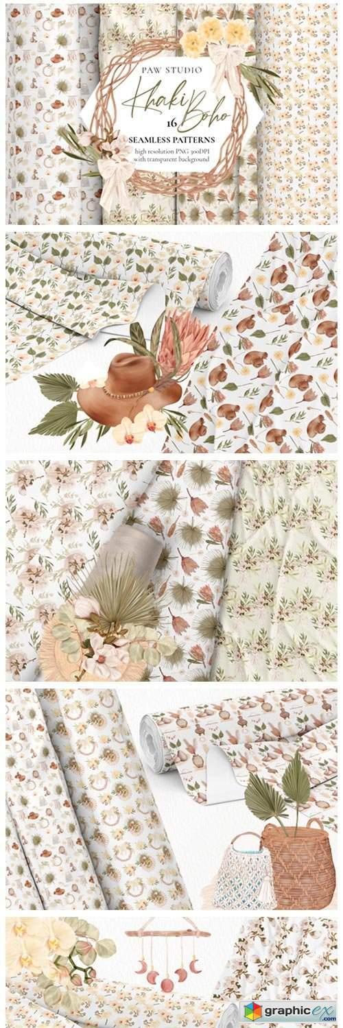 Boho Seamless Patterns. Flowers. Leaves