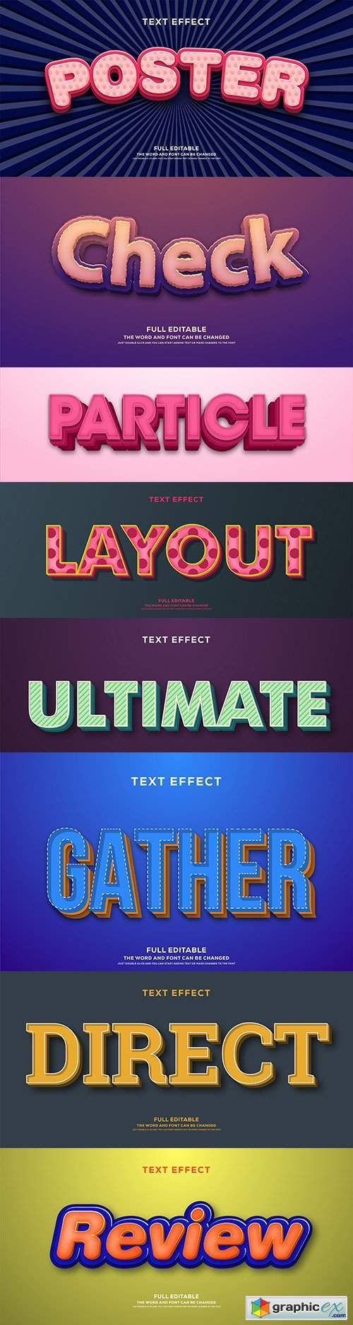 Editable font effect text collection illustration design 98