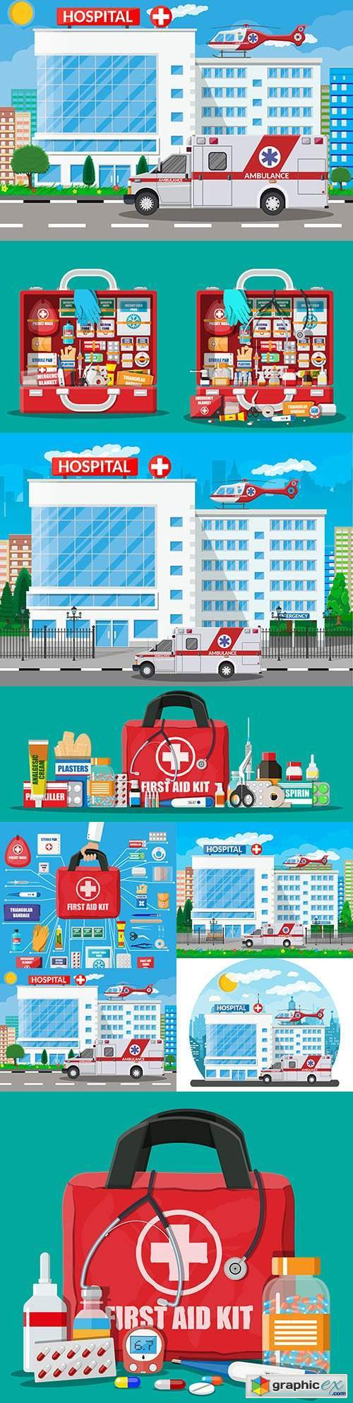 Hospital with ambulance and medical suitcase with tools