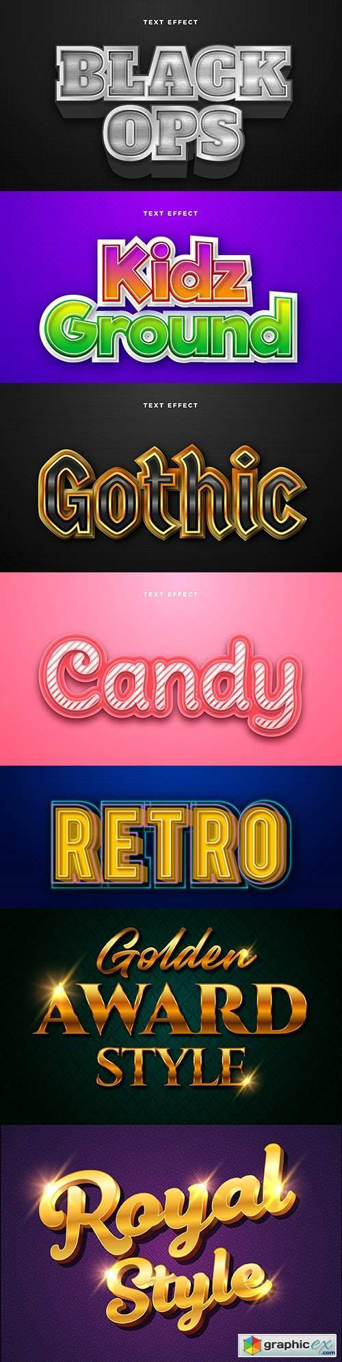 Editable font effect text collection illustration design 97