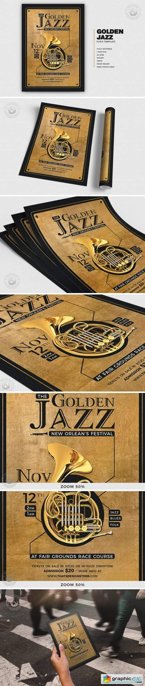 Golden Jazz Flyer Template V4