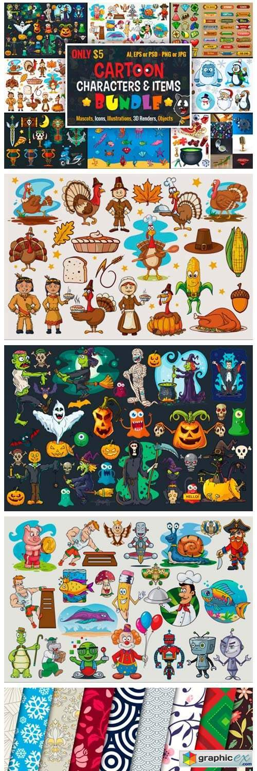 Cartoon Characters & Items Bundle