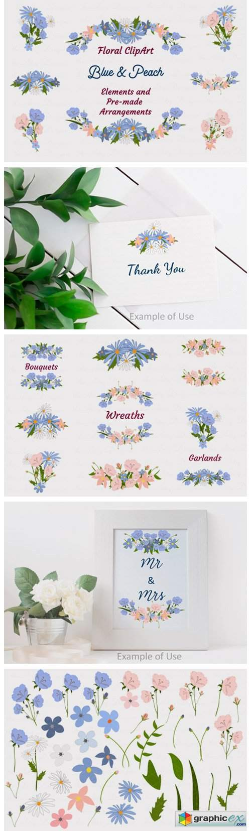 Blue Peach Daisy Flowers Clipart Bundle