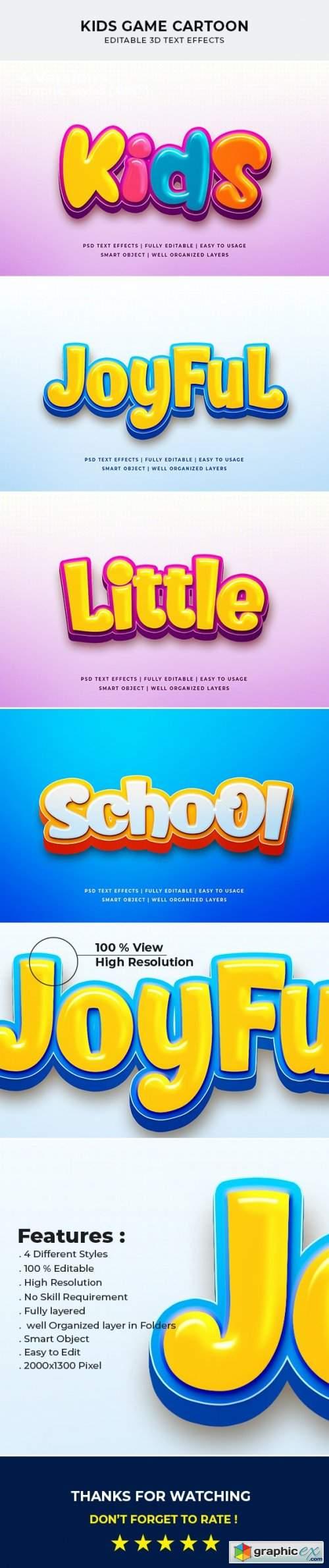 Kids Game Cartoon 3d Text Effect Mockup
