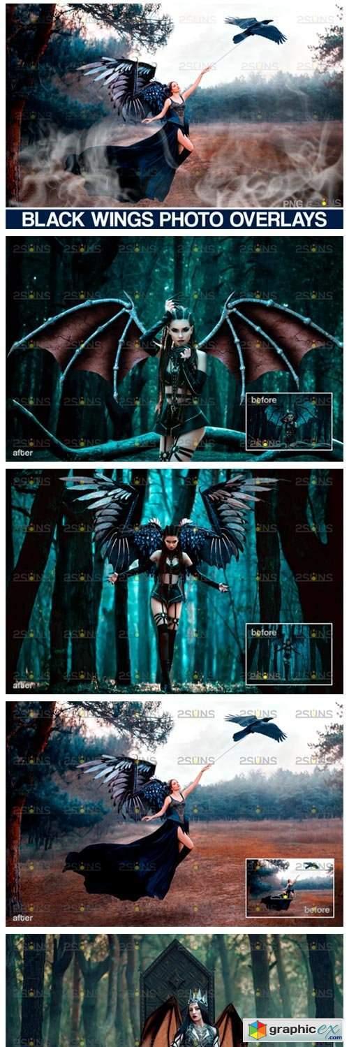 Realistic Black Angel Wings Photoshop