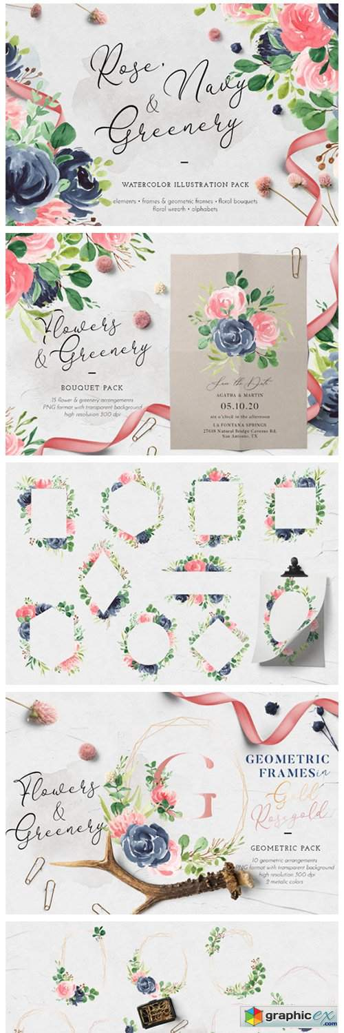 Rose, Navy & Greenery Illustration Pack