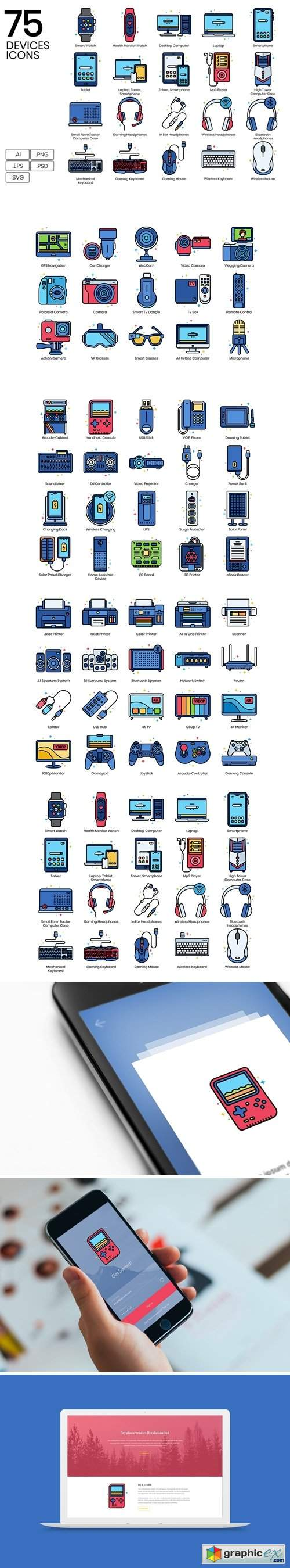 75 Devices Icons | Vivid Series