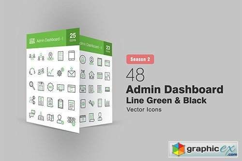 48 Admin Dashboard Line Green & Black Icons S2