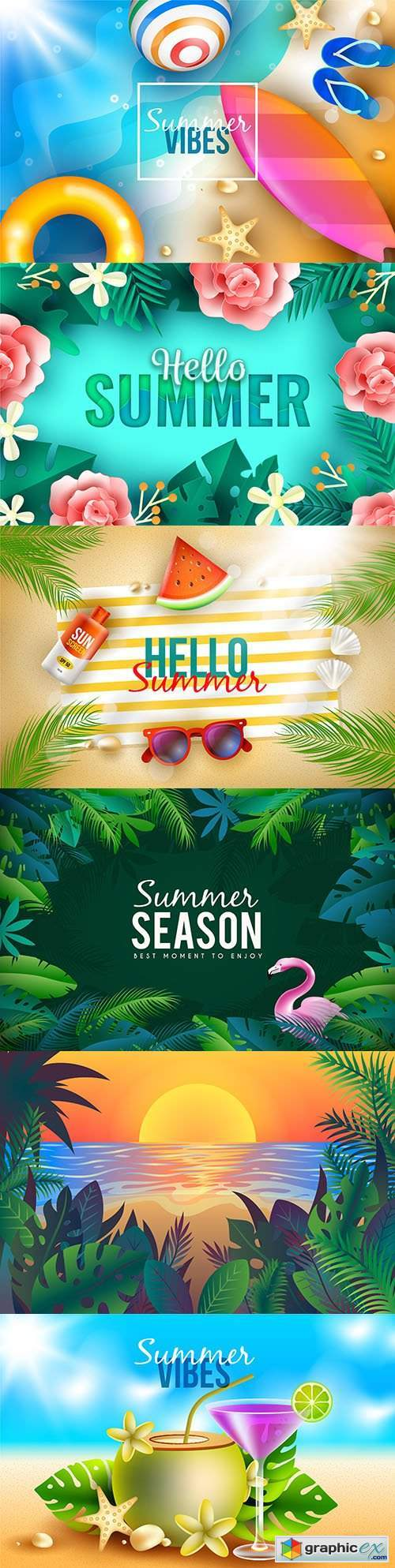 Summer background with cocktail on beach and tropical leaves