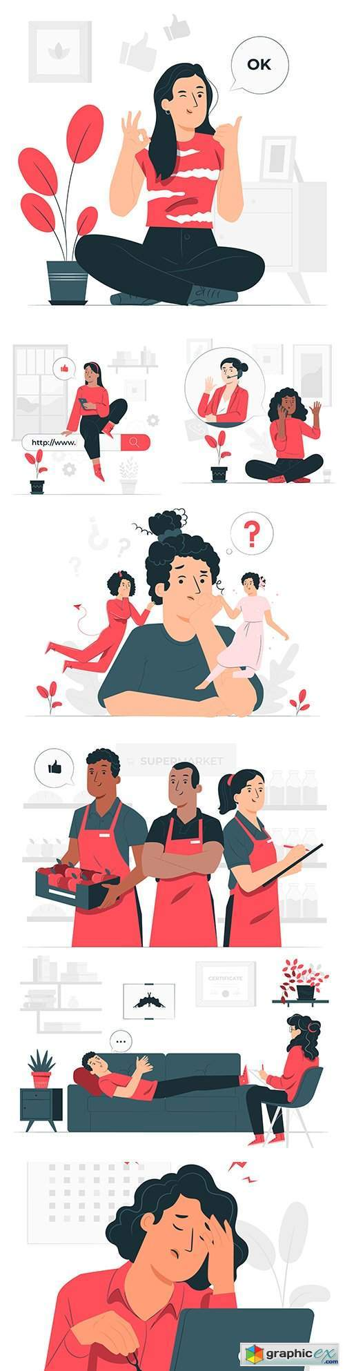 People different lifestyles and professions illustration concept
