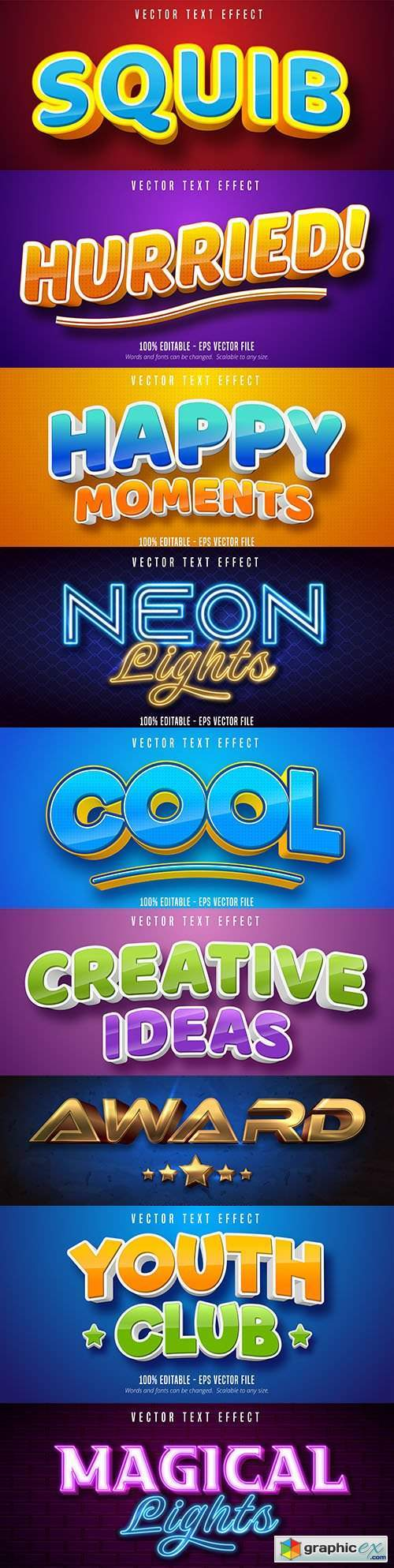 Editable font effect text collection illustration design 106