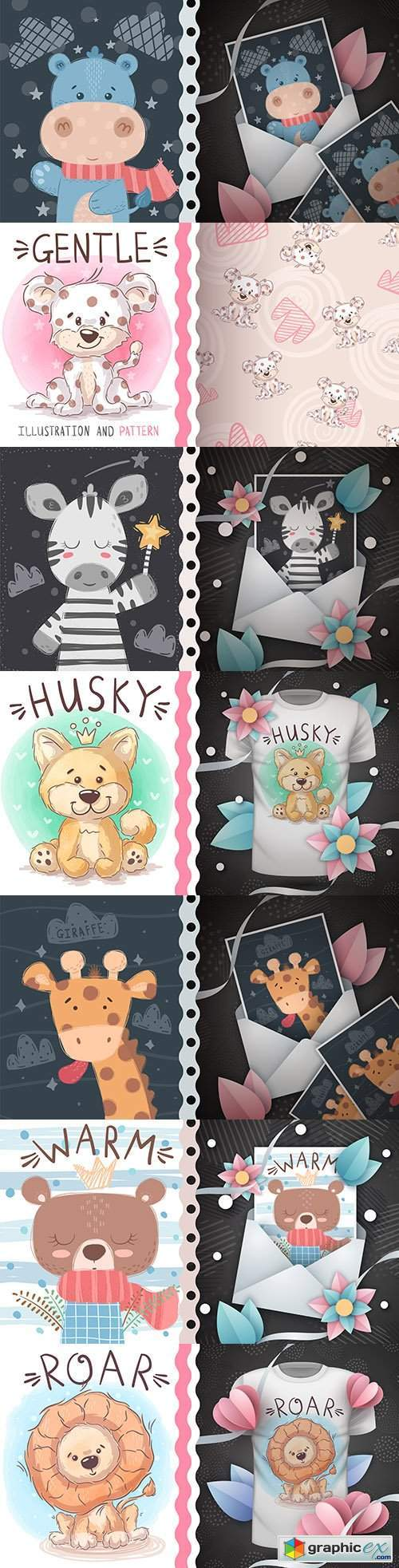 Cute cartoon animals and background design t-shirt 5