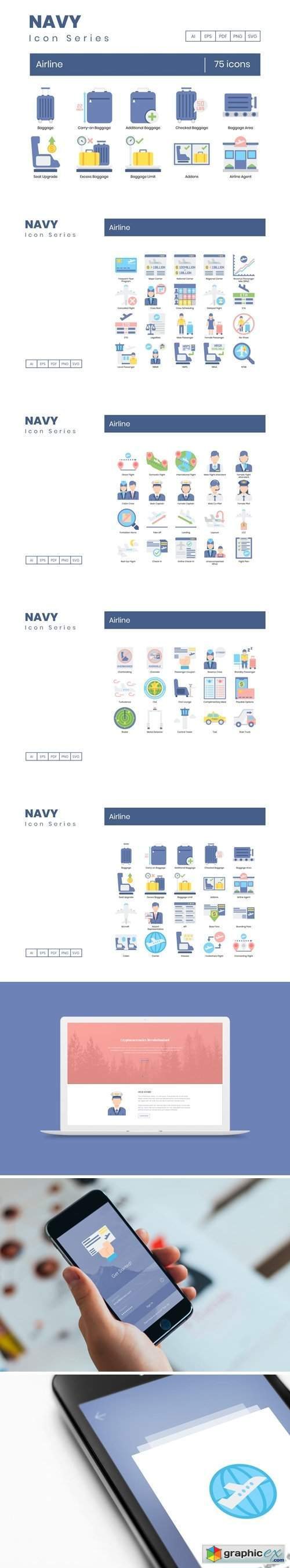 75 Airline Icons | Navy Series