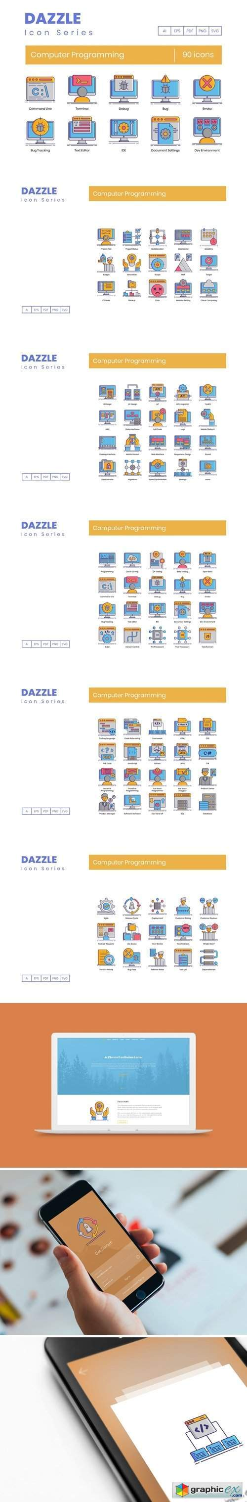 90 Computer Programming Icons | Dazzle Series