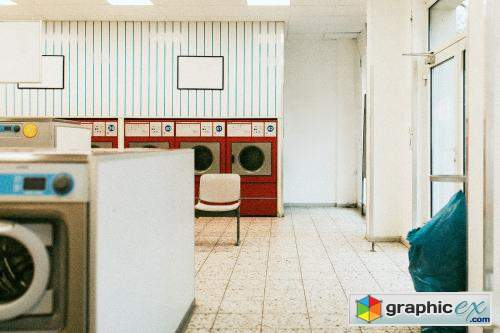 Washing machines in a retro laundromat