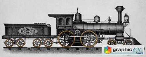 Gray railroad engine vintage illustration wall art print and poster design remix from original artwork