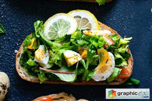 Fresh homemade open faced sandwiches recipe idea