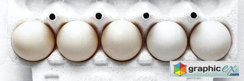 Fresh organic raw eggs in a carton
