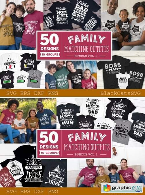 Family Matching Outfits SVG Bundle Vol 1