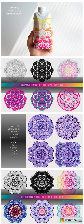 Set of Bright Vector Mandalas