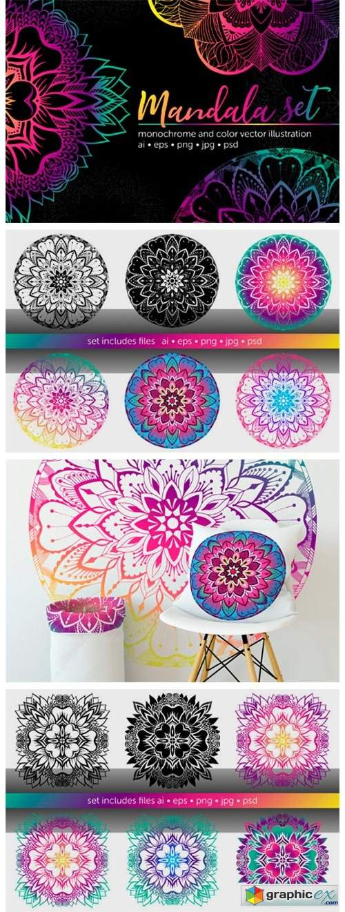 Set of Bright Vector Mandalas