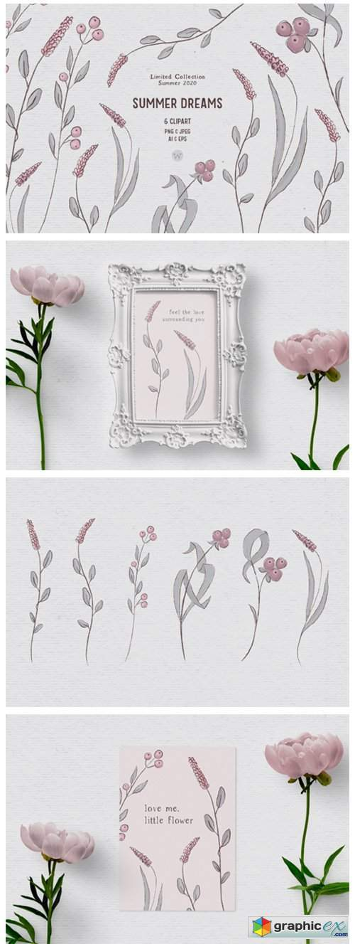 Hand-drawn Wildflower Clipart in Pink